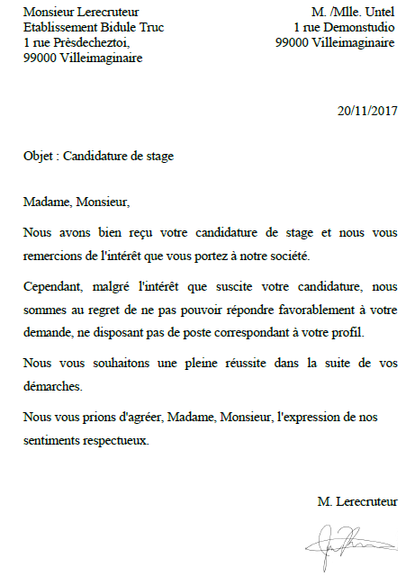 reponse refus candidature